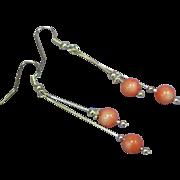 Coral Sterling Genuine Angel Skin Coral Drop Dangle Pierced Earrings