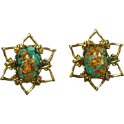 Shimmering Gold Foil Art Glass Turquoise and Copper Color Pierced Earrings