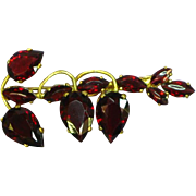 Czech Marked Faceted Garnet Pin Brooch
