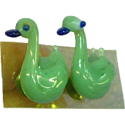 Adorable Blown Glass Green Bird Duck Figural Pierced Earrings