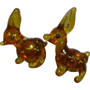 Adorable Blown Glass Brown Rabbit Bunny Figural Pierced Earrings