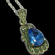 Gemstones Vintage Sterling Silver Topaz and Marcasite Pendant Charm Necklace