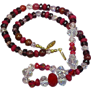 """Faceted Pink German Crystal Red Ruby Purple Faceted Rondell  22"""" Necklace"""