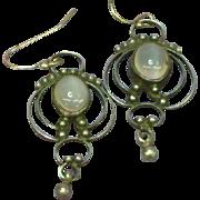 SOLD Antique Sterling Silver Moon Stones Pierced Dangle Earrings