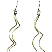 Fabulous Handmade Sterling Silver Long Dangle Pierced Earrings