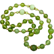 Gorgeous Antique Light Translucent Green Jade With 14K Yellow Gold Beads  Necklace