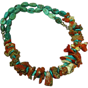 Native American Indian Large Antique Natural Coral Turquoise Chunk Necklace