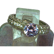 Meda Signed Cubic Zirconia Sterling Silver Filigree Diamonique Eternity Band  with Lavender CZ