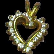 Sweet Vintage 10K Yellow Gold 1.50 CTW CZ  Heart Necklace Pendant