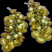 Dangle Faux Pearl Gold tone Shell Cluster Pierced Earrings