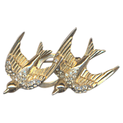 CORO Swallows Duette Brooch and Clips