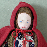 """SOLD Charming Hand Sewn 8 1/2"""" Painted Cloth Doll ~ Little Red Riding Hood"""