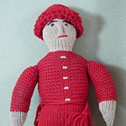 "SALE 9 3/4"" Knitted Doll ~ American Boy ~ 1880s Hand Made Folk Doll"
