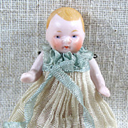 """2 1/2"""" CANDY BABY in Original Long Pleated Gown with Blue Ribbons"""