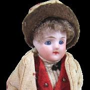 "3 3/4"" Antique Glass Eye Dollhouse Boy Doll ~ Sweet French Type Mignonette"