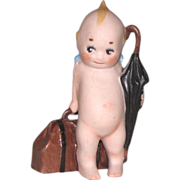"Darling 3 1/2"" Kewpie TRAVELER with Umbrella & Suitcase - All Bisque Doll"