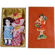 "4 1/2"" German All Bisque Doll in Original Presentation Box with 4 Extra Dresses"