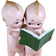 """3 1/2"""" Pair of Kewpies Reading a Book..""""The Lawyer"""" ~ Rare one!"""