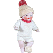 "2 1/2"" All Bisque CANDY BABY Boy by Hertwig ~ original clothing!"