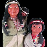"12 1/2"" & 10"" Skookum Indian Dolls with Label"