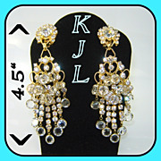 "SALE Vintage KJL Kenneth Lane 4 1/2"" Chandelier Earrings BOOK PC"