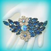 Vintage Blue Navette Metal Flower Rhinestone Large Brooch