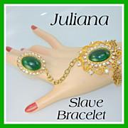 SALE Vintage Juliana D&E SLAVE BRACELET Green Rhinestone VHTF