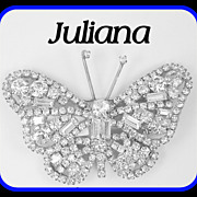 SALE Vintage Juliana D&E Layered Baguette BUTTERFLY Brooch