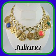 SALE Vintage JULIANA D&E Charm Hearts Medallion Necklace Book Pc