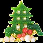 Vintage PAGODA Figual  Brooch Faux Jade Coral Pearls