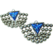 Vintage Blue Triangle Rhinestone Ball Chain Drape Earrings