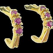 SALE Vintage 14K Yellow Gold Triple RUBY Hoop Earrings
