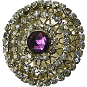 "Antique Hat Pin Large Purple Rose Cut Rhinestone 10"" Long"