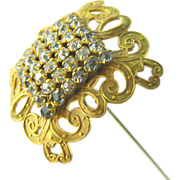 "Antique Hat Pin Large Gilt Art Nouveau Rhinestone 11"" Long"