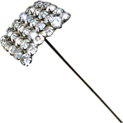 "Antique Hat Pin Large Paste Rhinestone 10"" Long"