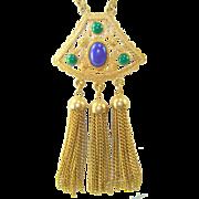 Vintage EGYPTIAN REVIVAL Faux Lapis Jade Glass Cabochon Tassels Necklace