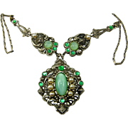 Vintage VICTORIAN REVIVAL Green Satin Moonstone Rhinestone Necklace