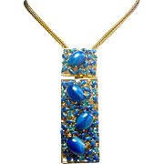 Magnificent Vintage BLUE GLASS MOONSTONE Large Designer Necklace