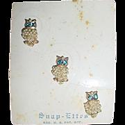 Vintage Tiny Rhinestone Faux Pearl OWL Pins Original SNAP-ETTES Card