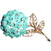 Vintage 1950 TRIFARI Forget-me-not Aqua Glass Flower Brooch Philippe