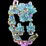 Vintage JULIANA D&E Pink Blue Art Glass & Lava Navettes Rhinestone Parure