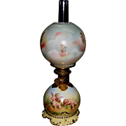 19th Century Signed Dresden Junior Size Oil Lamp With Cupids Decoration