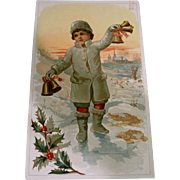 SOLD Christmas Trade Card Poster - Snow Boy - Atlantic & Pacific Tea Company - Red Tag Sale It