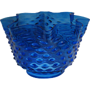 Bright Blue 19th Century Oil or Gas Lamp Shade - Four Inch Fitter