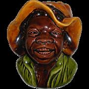 Bretby Black Boy Wall Pocket Majolica