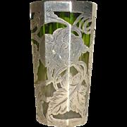 SOLD Silver Overlay Green mini vase 1890's
