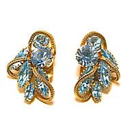 Hattie Carnegie Designer Signed Ice Blue Rhinestone Earrings