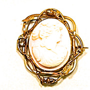 Victorian Large High Relief Carved Shell Cameo
