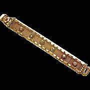 Hattie Carnegie Designer Signed Gold Tone Mesh Bracelet