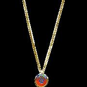 Carnelian and Glass Enamel Pendant Necklace
